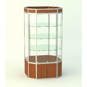 Островная витрина Алмаз 2 с фризом, накопитель 500мм