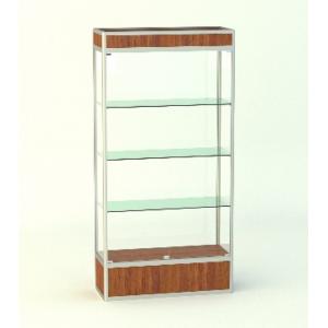 Прямая витрина Малахит с фризом и подиумом 300мм