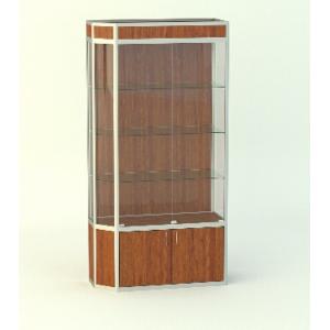 Прямая витрина АГАТ со скошенным углом, с фризом, накопитель 500мм.