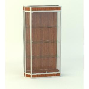 Прямая витрина АГАТ со скошенным углом, фриз 150мм подиум 200мм.