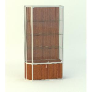 Прямая витрина АГАТ со скошенным углом, без фриза подиум 500мм.
